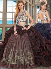Extravagant Scoop Cap Sleeves Brush Train Backless With Train Beading and Embroidery and Pick Ups Sweet 16 Dress