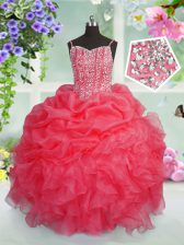 Exquisite Pick Ups Spaghetti Straps Sleeveless Lace Up Kids Pageant Dress Rose Pink Organza