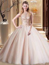 Scoop Peach Sleeveless Brush Train Beading 15 Quinceanera Dress