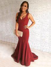 Burgundy Mermaid Elastic Woven Satin Scoop Sleeveless Ruching Zipper Prom Party Dress Brush Train