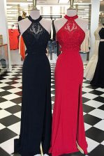 Fitting Scoop Black Elastic Woven Satin Backless Prom Gown Sleeveless With Train Sweep Train Beading and Lace