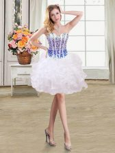 Sweetheart Sleeveless Lace Up White and Blue Organza