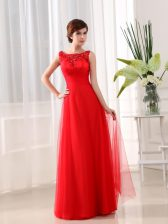 Fancy Scoop Floor Length Empire Sleeveless Coral Red Zipper