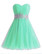 Best Selling Apple Green Prom Evening Gown Prom and Party with Beading and Ruching Sweetheart Sleeveless Lace Up