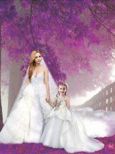 Appliques Prom Dress White Zipper Sleeveless Court Train