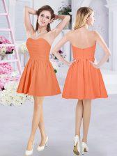 Enchanting Orange A-line Strapless Sleeveless Chiffon Mini Length Zipper Ruching Dama Dress