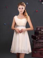 Inexpensive Sequins One Shoulder Sleeveless Zipper Quinceanera Court Dresses Champagne Chiffon