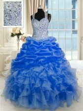 Pick Ups Straps Sleeveless Zipper Sweet 16 Dress Royal Blue Organza