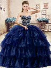 Navy Blue Organza Lace Up 15 Quinceanera Dress Sleeveless Floor Length Ruffled Layers