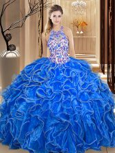 Scoop Sleeveless Organza Floor Length Backless Quince Ball Gowns in Royal Blue with Embroidery and Ruffles