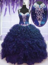 Charming Straps Navy Blue Tulle Zipper Quince Ball Gowns Sleeveless Floor Length Beading and Ruffles