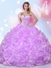 Nice Fabric With Rolling Flowers Sweetheart Sleeveless Lace Up Beading Sweet 16 Quinceanera Dress in Lavender