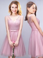 Elegant Pink A-line Ruching and Bowknot Dama Dress Lace Up Tulle Sleeveless Mini Length