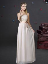 Sleeveless Lace and Belt Lace Up Dama Dress for Quinceanera