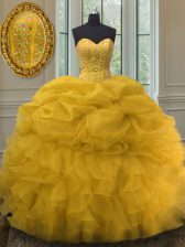 Sweetheart Sleeveless Quinceanera Gown Floor Length Beading and Ruffles and Pick Ups Gold Organza
