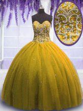 Custom Fit Sweetheart Sleeveless Quinceanera Dresses Floor Length Beading Olive Green Tulle