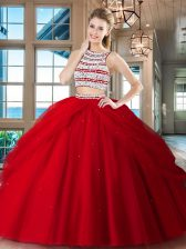 Best Selling Scoop Sleeveless Tulle Floor Length Backless Quinceanera Dress in Red with Beading and Pick Ups