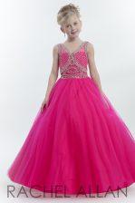 Sweet Floor Length Hot Pink Girls Pageant Dresses Tulle Sleeveless Beading