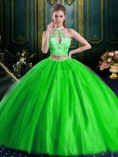 Halter Top Sleeveless Tulle Lace Up Quince Ball Gowns for Military Ball and Sweet 16 and Quinceanera