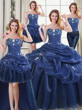 Elegant Four Piece Navy Blue Ball Gowns Organza Sweetheart Sleeveless Appliques Floor Length Lace Up 15th Birthday Dress