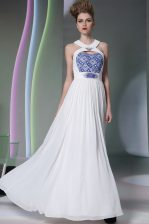 Spectacular White Halter Top Neckline Beading and Embroidery Prom Evening Gown Sleeveless Zipper