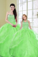 Sequins Green Sleeveless Organza Lace Up Sweet 16 Dress for Military Ball and Sweet 16 and Quinceanera