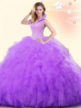 Lavender Backless High-neck Beading and Ruffles Sweet 16 Dresses Tulle Sleeveless