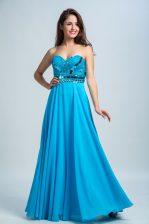 Sweetheart Sleeveless Zipper Evening Dress Baby Blue Chiffon
