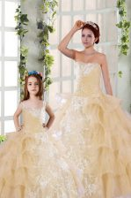 Gorgeous Ruffled Floor Length Ball Gowns Sleeveless Champagne Quinceanera Gown Lace Up