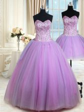 Glittering Three Piece Lavender Ball Gowns Beading Sweet 16 Dress Lace Up Tulle Sleeveless Floor Length