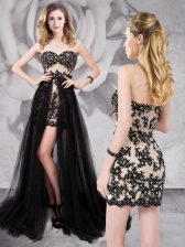 Black Homecoming Dress Prom and Party with Beading and Appliques Sweetheart Sleeveless Brush Train Zipper