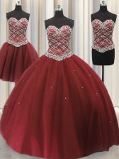 Three Piece Sleeveless Floor Length Beading and Sequins Lace Up Quinceanera Gown with Burgundy