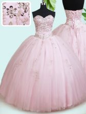 Sophisticated Sleeveless Tulle Floor Length Lace Up Quinceanera Dress in Baby Pink with Beading