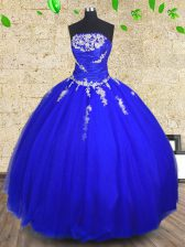 Wonderful Strapless Sleeveless Quince Ball Gowns Floor Length Appliques and Ruching Royal Blue Tulle