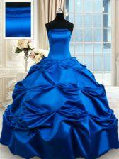 Beautiful Royal Blue Taffeta Lace Up Strapless Sleeveless Floor Length 15th Birthday Dress Pick Ups