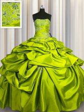 High Class Taffeta Strapless Sleeveless Lace Up Beading and Pick Ups 15th Birthday Dress in Olive Green