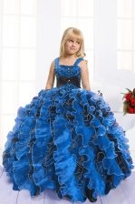 Graceful Beading and Ruffles Little Girl Pageant Dress Royal Blue Lace Up Sleeveless Floor Length