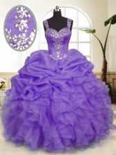 New Style Organza Straps Sleeveless Zipper Beading and Ruffles and Pick Ups Quinceanera Gowns in Lavender