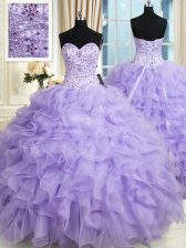 Super Lavender Sweetheart Lace Up Beading and Ruffles Sweet 16 Dress Sleeveless
