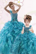 Sumptuous Teal One Shoulder Neckline Beading and Ruffles 15th Birthday Dress Sleeveless Lace Up