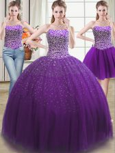 Cute Three Piece Sweetheart Sleeveless Tulle Vestidos de Quinceanera Beading Lace Up