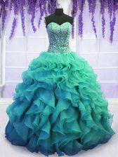 Amazing Sleeveless Floor Length Beading and Ruffles Lace Up Sweet 16 Dress with Turquoise