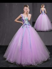 Glittering Lilac Sweet 16 Quinceanera Dress Military Ball and Sweet 16 and Quinceanera with Appliques and Belt V-neck Sleeveless Lace Up