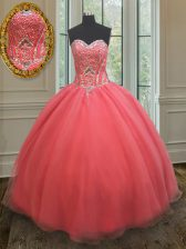 Beautiful Watermelon Red Sleeveless Beading Floor Length 15th Birthday Dress