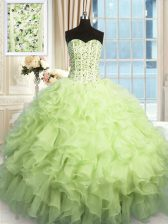 Yellow Green Ball Gowns Organza Sweetheart Sleeveless Beading and Ruffles and Sequins Floor Length Lace Up 15th Birthday Dress