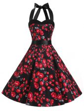 Red And Black A-line Chiffon Halter Top Sleeveless Sashes ribbons and Pattern Knee Length Zipper Prom Evening Gown