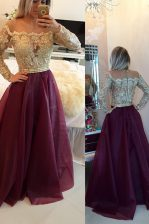 Sophisticated Burgundy Zipper Scoop Beading and Appliques Organza Long Sleeves