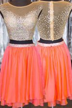Mini Length Zipper Prom Dress Orange for Prom and Party with Beading
