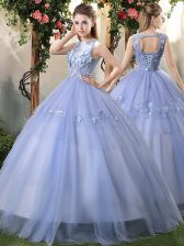 Eye-catching Lavender Sleeveless Floor Length Appliques Lace Up Sweet 16 Quinceanera Dress