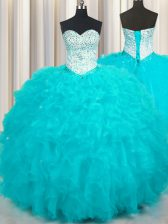 Aqua Blue 15 Quinceanera Dress Military Ball and Sweet 16 and Quinceanera with Beading and Ruffles Sweetheart Sleeveless Lace Up